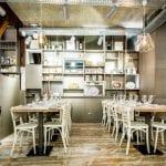 Iluminación con proyectores de un restaurante en Madrid