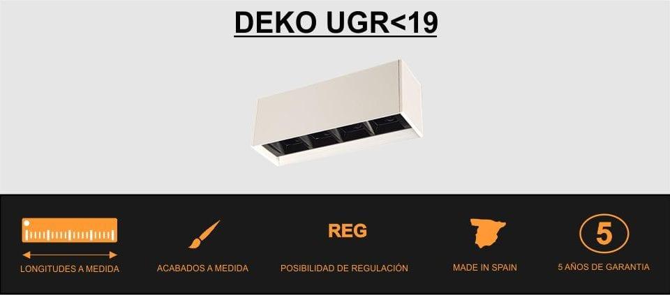 Luminaria lineal UGR Deko sin deslumbramientos en oficinas y zonas de trabajo