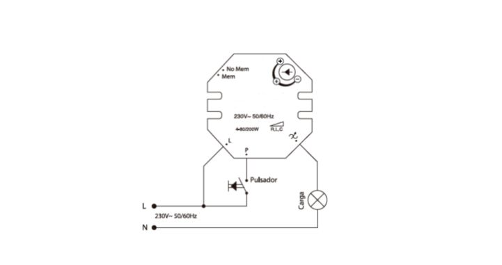 Esquema de conexión regulador corte de fase
