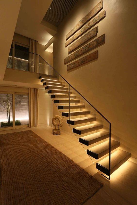 iluminación para escalera interior