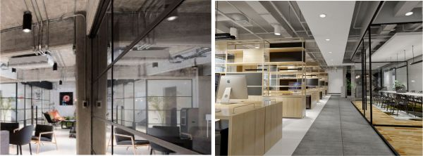 Iluminación oficinas modernas con luminarias superficie