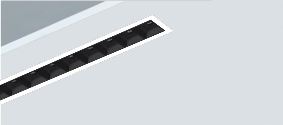 Luminaria empotrada high contrast lineal Rus con ópticas UGR