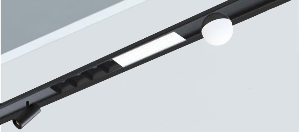 Sistema empotrado Lineal modular Multy Sistem para la incorporación de diferentes luminarias